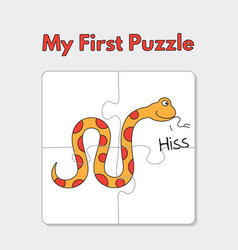 cartoon snake puzzle template for children vector image