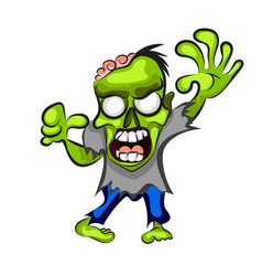 cartoon zombie isolated on white vector image