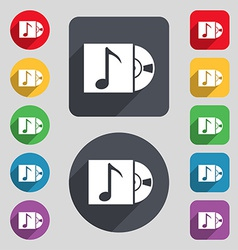 Cd player icon sign a set of 12 colored buttons vector