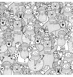 christmas black and white seamless pattern vector image