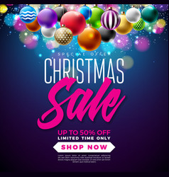 christmas sale design with multicolor ornamental vector image