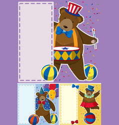 Circus bears and border template vector