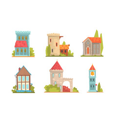 Collection old stone buildings vector