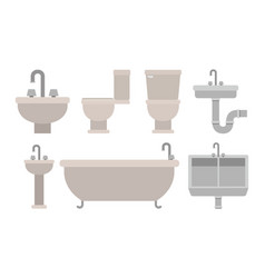 Colorful set of bathroom interior objects with vector