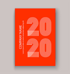 cover annual report numbers 2020 in thin lines vector image