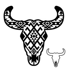 cow skull with aztec pattern auroch vector image