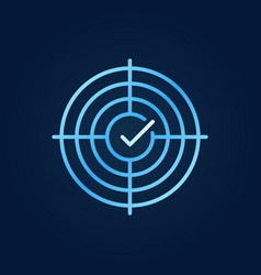 crosshair with tick blue outline icon vector image