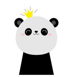 cute panda bear face head icon kawaii animal vector image