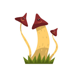 cute smiling mushroom characters with funny faces vector image