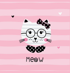Cute with funny cat vector