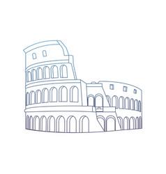 Degraded line medieval coliseum rome architecture vector