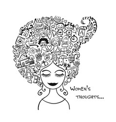 Female thoughts in head about current affairs vector
