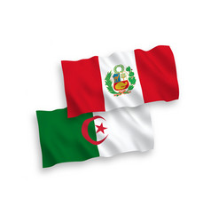 Flags peru and algeria on a white background vector