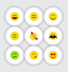 Flat icon expression set of displeased love vector
