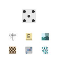Flat icon play set of backgammon jigsaw guess vector