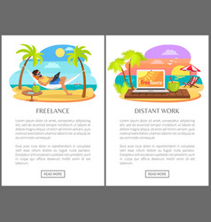freelance and distant work advertisements set vector image