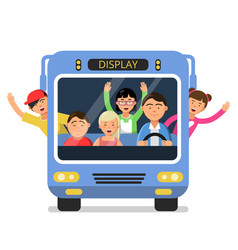 Front view of school bus with set of happy vector