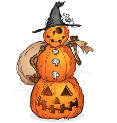 Halloween pumpkin scarecrow cartoon character vector