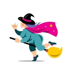 Halloween Witch on a broomstick Cartoon vector image