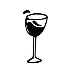 Hand drawn doodle wineglass blood vector