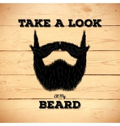 Hipster beard on wooden background vector image