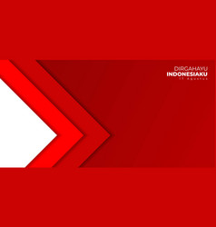 Indonesia independence day with red geometric vector