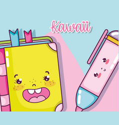 Kawaii school utensils vector