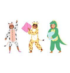 kids animal pajamas smiling boys and girls vector image