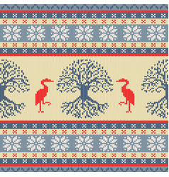 Knitted celtic tree of life and crane vector