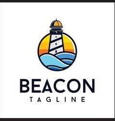 Lighthouse logo icon design beacon coastal ocean vector