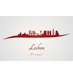 Lisbon skyline in red vector