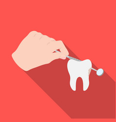Manipulation gesture of the hand of the dentist vector