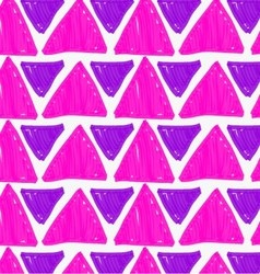 Marker drawn purple big and small triangles vector