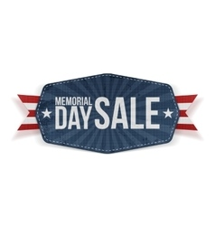 Memorial Day Sale Label with Ribbon and Shadow vector