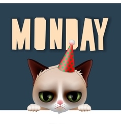 Monday morning with cute grumpy cat vector image