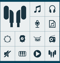 Music icons set collection of earmuff file vector