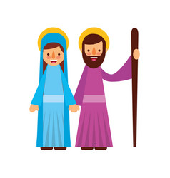 nativity the virgin mary and joseph blessed vector image
