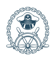 nautical emblem with captain hat and navigation vector image