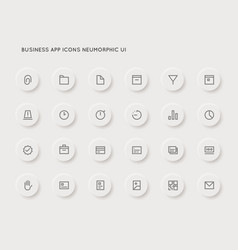 neuromorphic business user interface ui icon set vector image