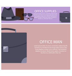 office supplies and man set vector image