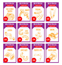Pasta sketch price cards italian restaurant vector
