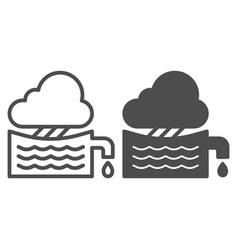 Rainwater tank line and glyph icon water vector