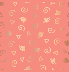 rose gold abstract doodle shapes seamless pattern vector image