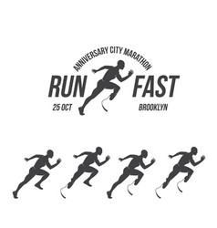Running logo marathon concept sport activities vector