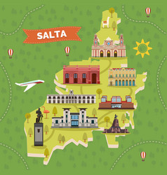 Saltal city map with sightseeing landmarks vector