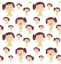seamless background template with girl smiling vector image