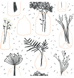 seamless pattern with minimalistic glass vases vector image