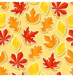 Seamless pattern with stickers autumn leaves vector image