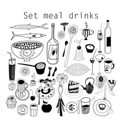 set food and drink vector image