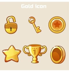 Set gold icon four game vector